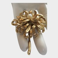 Vintage Boucher Signed and Numbered Goldtone Chrysanthemum  Pin