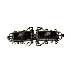 19th Century Mourning Period Pin in Onyx with C Clasp