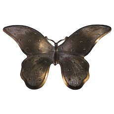 Vintage Copper Butterfly Pin With Brushed Look