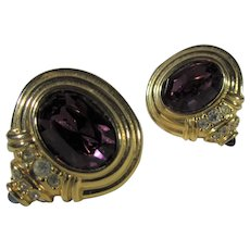 Nolan Miller Goldtone Clip On Earrings With Purple, Clear and Green Crystals
