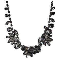 Vintage Signed Necklace With Faux Smokey Quartz Stones