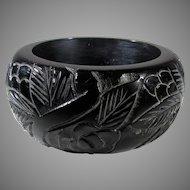 Bakelite Heavily Carved Black Cuff in Floral Design