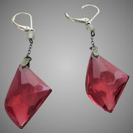 Vintage Cranberry Crystal Earrings for Pierced Ears on Sterling Wires