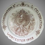 1902 Edward VII and Queen Alexandra Coronation Plate Presented by Mayor of Worcester and His Wife