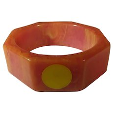 Bakelite Hexagonal Peach Marbled Bangle With Butterscotch Dot Accents