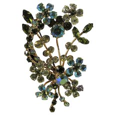 Vintage Signed Austrian Floral Pin With Green and Clear Aurora Borealis Crystals