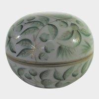 Herend Green Leaf Pattern Trinket Box