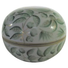 Herend Green Leaf Pattern Trinket Box