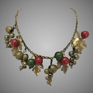 Vintage Brass and Lucite Red and Green Holiday Necklace