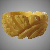 Bakelite Heavily Carved Butterscotch Bangle