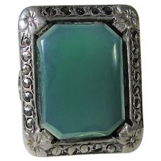 Sterling Silver Deco Chalcedony Marcasite Ring
