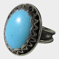 Sterling Silver Ring With Large Reconstituted Turquoise Cabochon