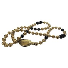 VIntage Brass and Glass Necklace With Unique Accent Bead