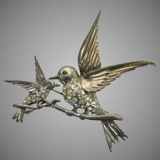 Sterling Silver Mother Feeding Baby Bird Pin With Clear Crystals and Blue Crystal Eyes
