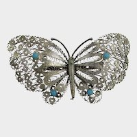 Vintage Silver Tone Filagree Butterfly Pin With Faux Turquoise Accents