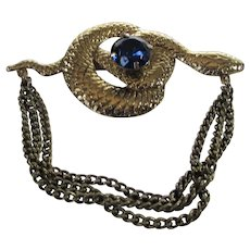 Vintage Snake Pin in VIctorian Style Guarding a Blue Crystal Egg and Hanging Chains for Movement