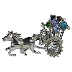 Vintage Silver Tone Horse and Carriage With Colorful Balloons