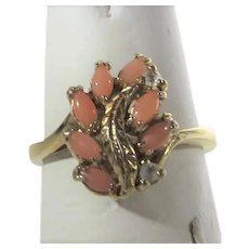 14 Karat Petite Yellow Gold Coral Ring With Diamond Chip Accent