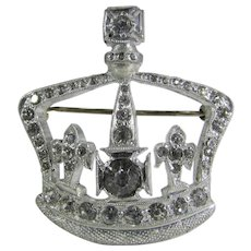 Vintage Signed Crystal Crown Pin
