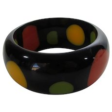 Bakelite Black Bangle With Red, Yellow and Green Dots