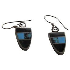 Sterling Silver Native American Pierced Earrings With Onyx and Turquoise Inlaid