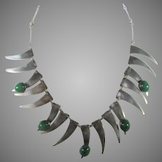 Sterling Silver Necklace With Polished Malachite