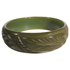 Bakelite Heavily Carved Olive Cuff