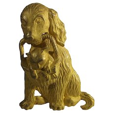 Vintage Goldtone Dog Carrying a Kitten in a Basket Pin
