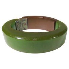 Bakelite Hinged Cuff in  Apple Green Withe Reddish Brown Top Segment