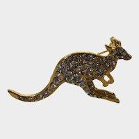VIntage Goldtone Kangaroo Pin Covered in Crystals