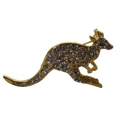 VIntage Goldtone Kangaroo Pin Covered in Crystals