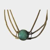 Vintage Brass and Glass Triple Strand Necklace With Green Glass Slide