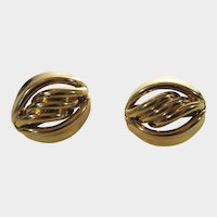 Vintage Napier Goldtone Clip On Earrings With Adjustable Feature for Comfort