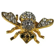 Joan Rivers Signature Bee Pin  in Goldtone and Pave Crystals