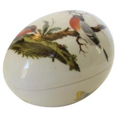 Limoges Covered Egg Shaped Trinket Box in Rothschild Bird Pearl Thieves Motif
