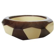 Bakelite Chunky Marbled Brown and Ivory  Color Bangle