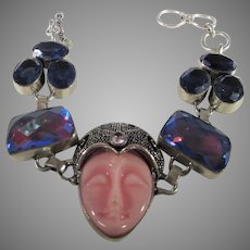 Sterling Silver Bracelet With of Variety of Jewel Toned Crystals and Lucite Center Portrait