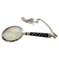 Joan Rivers Deco Style Magnifier Necklace in Black Enamel and Crystal Adornments