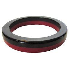 Bakelite Laminated Red and Black Bangle