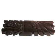 Bakelite Carved Brown Pin