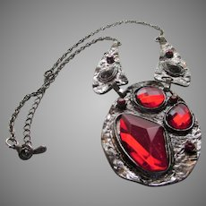 Vintage Pewter Tone Bold Necklace With Asymmetrical Faux Ruby Crystals