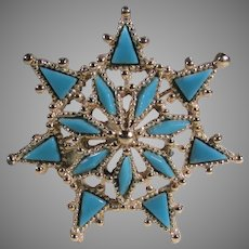 Vintage Goldtone Snowflake Pin with Faux Turquoise Accents