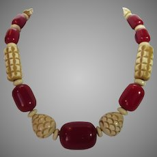 Bakelite Cherry Amber and Carved Ivory Color Bead Necklace