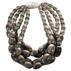 Ben Amun Statement Necklace With Four Intertwined Strands Aged Silver Tone Beads