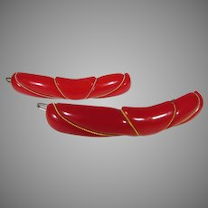 Bakelite Pair of Carved Cherry Red Barrettes