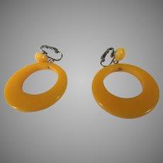 Bakelite Butterscotch Clip On Hoop Earrings