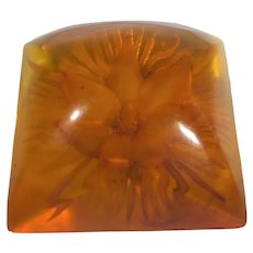 Bakelite Reverse Carved Apple Juice Button in Floral Theme