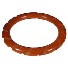 Bakelite Carved Orange Bangle