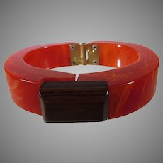 Bakelite Geometric Orange Marbled Hinged Cuff with Polished Wood Accent