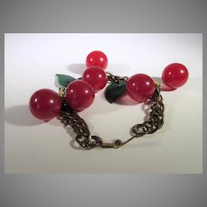 Bakelite Cherries on Brass Chain Bracelet With Green Leave Accents